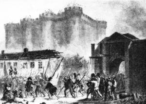 Startpunkten för franska revolutionen: stormningen av Bastiljen 1789.