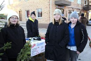 De är alltid redo med sitt julskyltningslotteri. Fr.v Bergsjöscouterna Emilia Nordlund, 11 år, Agnes Sjölander, 11 år, Albin Sjölander, 13 år och Edvin Östlund Quist, 12 år.