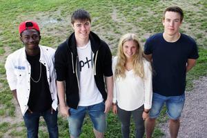 Alby Bonsange, Johan Gustafsson, Dinah Karsbo och Edward Sigfridsson hör till det 100-talet ungdomar som fick sommarjobb via kommunen i år. Deras jobb är att ordna sommaraktiviteter åt ungdomar.