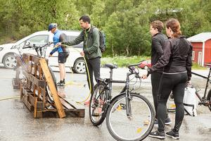Cykeltvätten var välbesökt efter Fjällturen.