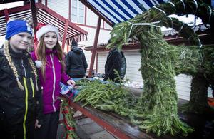 Ida Larsson och Maja Emilsson satte ihop en julbock av granris.