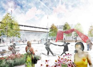 Brotorget med scen i det vinnande förslaget i arkitekttävlingen. Bakom det står Karavan Landskapsarkitekter AB i Uppsala.