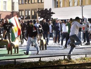 Oroligheter på Sveatorget i samband med Dalkurds match mot Syrianska i augusti.