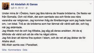 Inlägget där Ali Al-Ganas hyllade de stupade IS-krigarna.