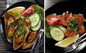 Förrätterna: Vitvinsblancherade musslor i skal med sky av tomatpuré, örter, smör, vitt vin och vitlök samt räkor stekta i smör, vitlök, koriander och tomatpuré.