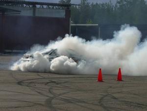 Johan Halvarssons Nissan ser ut att ha gått upp i rök.