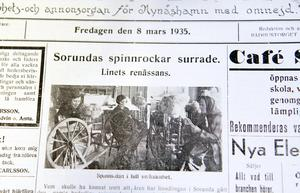 """""""Spinningstävling"""" i Sorunda. Foto: NP 8 mars 1935"""