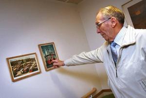 Rune Hjelm ville göra det hemtrevligt på Sätrahemmet. Han har tagit med sig foton och tavlor hemifrån men också fått bilder och böcker från länsmuseet, Gefle antikvariat och flera andra ställen.