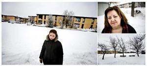 Stora bilden: Flora Shala undviker att gå ut när det är mörkt. Lilla bilden högst upp: Sabah Barsom har bott i Sverige i 30 år. Hon tycker att samhällsklimatet har blivit hårdare. Lilla bilden nere: Här i Oxhagen ble en äldre kvinna våldtagen under söndagskvällen.