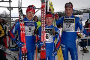 Lagsegrare. IFK Mora van som vanligt lagtävligen. Från vänster: Niklas Karlsson, Rikard Andreasson och Erik Eriksson.
