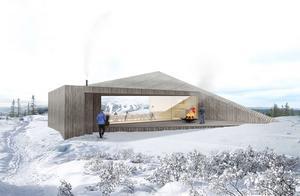 Fyra hyttor för boende och sju stycken byggnader för olika ändamål är med i planeringen.   Illustration: Saunders architecture