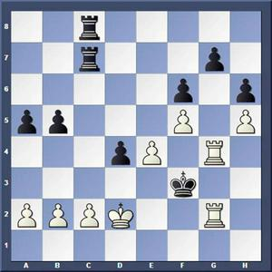 Vad spelade vit?Lösning: 1) Ke1 Txc2 2.T2g3 matt.
