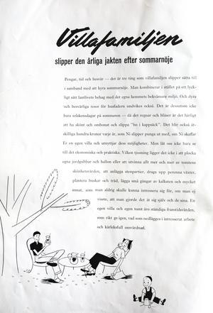 Så här beskrivs villalivet i Svenska Trähus broschyr från 1941.