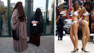 Debattören tar upp hur kvinnor klär sig i Mellanöstern och i västerlandet.