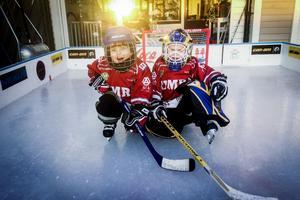 Småkillarna Oliver Grip och Albin Karlsson är tre år och de åker skridskor på isrinken på altanen hemma hos Oliver, flera gånger i veckan.