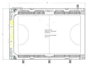 Det blir läktare i två olika etage och när hallen är färdig ska den ha en publikkapacitet på 3 000 personer.