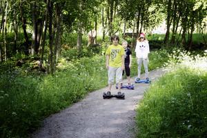 Jamie, Elias och Amanda på en tur i parken vid Holmarna i Skutskär.