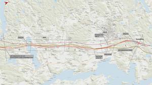 Här kommer Ostlänken att gå. Observera att kartan här är vriden 90 grader, norr är alltså till höger på bilden.