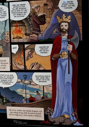 S.t Olof, ett helgon med särskild bäring i våra trakter, återges så här fint av mangatecknaren Åsa Ekström.