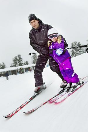 Tomas Sundberg och dottern Fanny åkte i Hedebacken tillsammans för första gången.