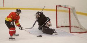 Jonathan Zakrisson, Sala Hockey, räddar den här backhanden i plocken. Foto: Mikael Stenkvist