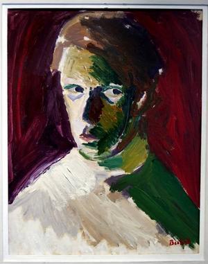 """KONSTNÄREN SJÄLV. """"På utställningen finns också två självporträtt, ett från yngre och ett från något äldre dagar. Konstnären har betonat ögonen"""", skriver Niels Hebert."""