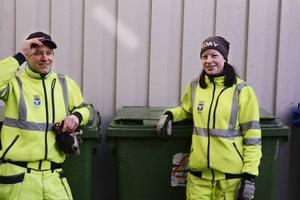 Sopåkarna Daniel Björklund och UIrika Hägglund trivs med sitt jobb. Även om det inte händer lika mycket som i klassiska kultrullen