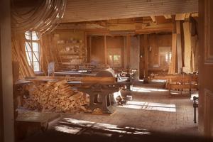 Snickeriet med sågslingor uppe i det väntra hörnet.