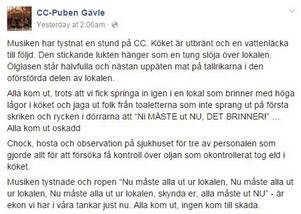 CC-puben berättade om händelsen via sin Facebook-sida och möttes av kärlek och stöd från Gävlebor.