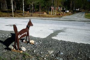 När man kommer till vägskälet mot Bringåsen i Singsjön får man i alla fall klart för sig att här är det korsning, dock inte i form av ett kors utan i form av en hund – med halsband.