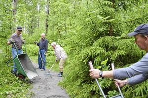 I helgen anordnade Hässlebergs villaförening en arbetsdag för att förbättra tillgängligheten till elljusspåret i närheten. Genom att lägga ut grus på skogsstigen kan fler komma ut i skogen med barnvagn, rullstol och rullator. Viktoria Welander och Hans-Olov Moberg krattar medan Göran Eklöf och Calle Lundqvist kör skottkärror med sand.