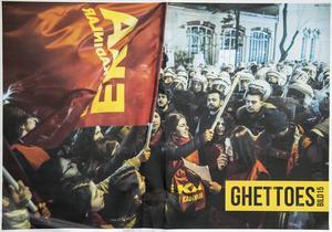 Diana Savinas omslagsbild på utställningstidningen för Bild15 - Ghettoes visar en feministisk demonstration i Istanbul.