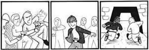 Illustration: PETTER EKBERG Fritagning. Häktesvakterna höll fast 24-åringen när de såg mannens kamrat sträcka händerna som efter ett vapen. Enligt uppgifter från polisen såg vakterna kolven till ett handeldvapen. De släppte omedelbart sitt grepp om 24-åringen som tillsammans med sin kamrat försvann springande från tingsrätten.