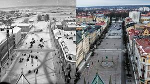Stortorget nu och Stortorget i slutet av 1800-talet.