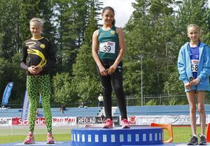 Ebba Hedberg, Ingrid Lundkvist och Lovisa Blomqvist på pallen.