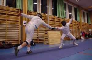 En bild från herrveteranernas final mellan Patrik Joelsson, ÖFFK och Wille Öhman, Umeå.
