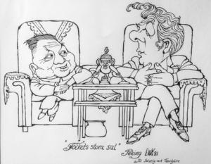 EWK:s originalteckning från Fälldin möte med Kinas de högste ledare Deng Xiaoping 1981.