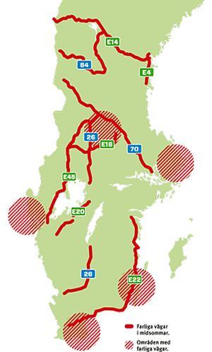Farliga vägar, samt tungt trafikerade områden, under midsommarhelgen.