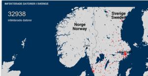 Runt 3000 datorer i Sverige är infekterade uppger Myndigheten för samhällsskydd och beredskap efter att ha gjort en kartläggning.