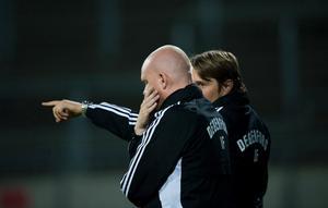 Difs tränarduo Patrik Werner och Jonas Lindskog.