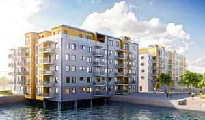 Så här ska de två husen med totalt 63 lägenheter se ut.