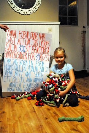 En bild på Nora med den här skylten lades upp på Facebook och inlägget hade på torsdagen delats nästan 800 gånger.