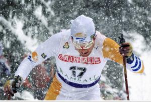 Ymnigt snöfall under VM-tremilen i Ramsau 1999. Mathias blev 12:e man och bäste svensk.