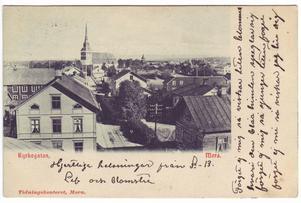 Den här bilden är tagen från gamla Mora Tidnings-huset vid Kyrkogatan. Kortet är tryckt någon gång mellan 1903 och 1905.