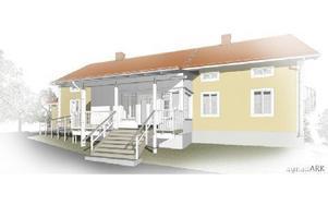 Så här är det tänkt att den nya entrén på före detta prästgården i Siljansnäs ska se ut när den nu ska förvandlas till församlingshem. Planskisser på hur rumfördelningen är tänkt finns på webben. Foto: Illustration/ Visualisering agnasARK.