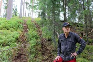 Per Mellström kontrollerar skadorna efter fyrhjulingar som kört i skogen.