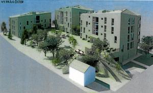 Bakifrån. Tre huskroppar med sammanlagt 32 lägenheter byggs i hörnet Tallbogatan-Götgatan. Så här kommer det se ut från öster, från baksidan. Skiss: White Arkitekter
