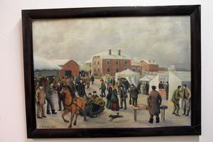 Olof Nilsson var väldigt produktiv. Han har skildrat Knåda marknad, den stora vintermarknaden, i flera av sina tavlor.