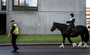 Polisen eskorterade kortegen framtill Olof palmes torg.