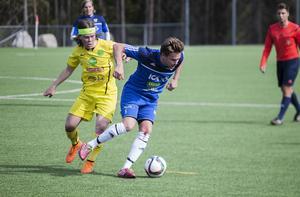 Ljusdals tremålsskytt Lukas Nilsson och Norralas Simon Åberg.